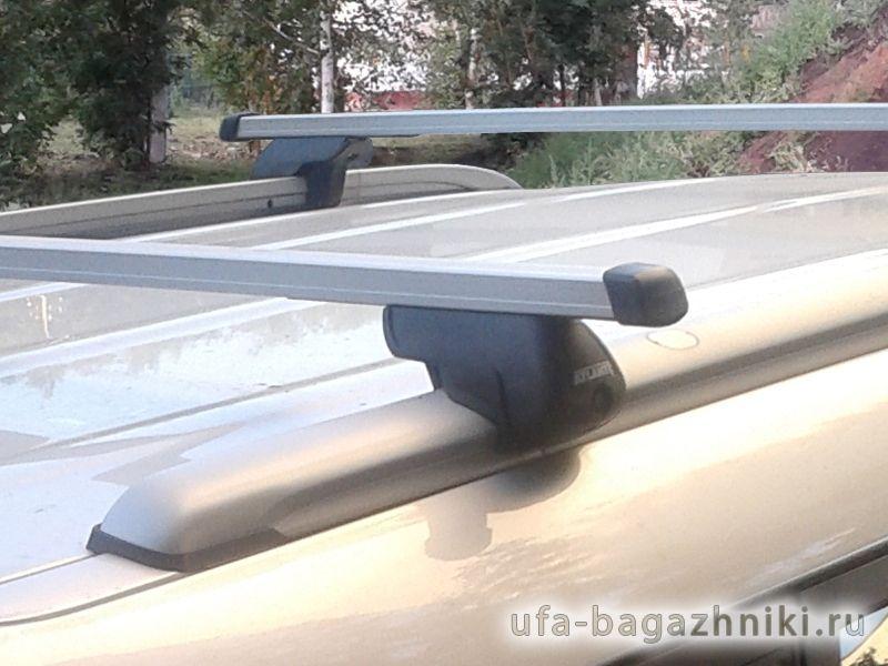 Багажник на крышу Kia Soul 2014-... с интегрированными рейлингами, Атлант, прямоугольные дуги